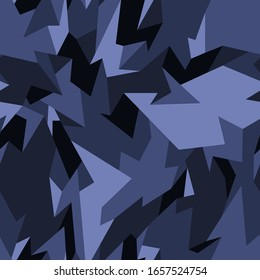 Geometric camouflage seamless pattern. Abstract modern polygon camo texture for army and hunting fabric print. Vector illustration.