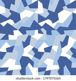 Geometric camouflage seamless pattern. Abstract modern military urban texture. Blue color background. Vector illustration.