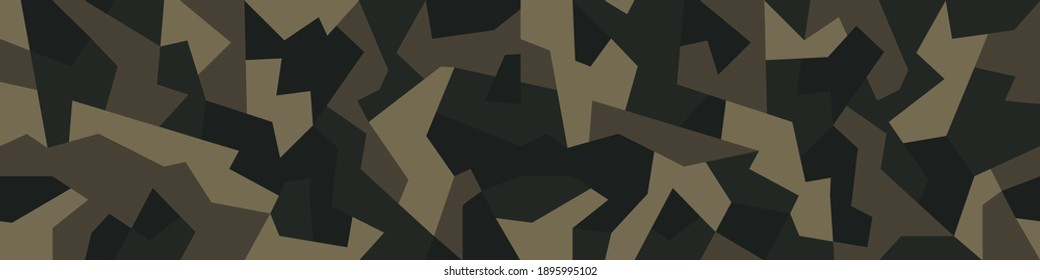 Geometric camouflage texture seamless pattern. Abstract modern military camo endless background. Ornament for fabric and fashion print. Vector illustration.
