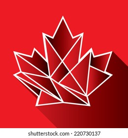 A geometric Canadian maple leaf icon on a red background with a long shadow.