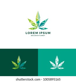 geometric cannabis logo vector low poly glass crystal vector