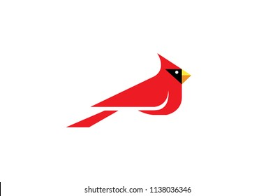 Geometric Cardinal Bird Vector Logo Design Illustration