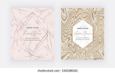 Geometric cards with liquid glitter design, golden polygonal lines frames on the marble texture background. Trendy template for wedding, banner, wallpaper, flyer, poster, invitations.
