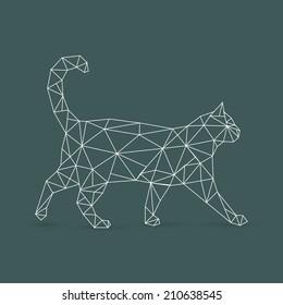 Geometric cat - vector illustration