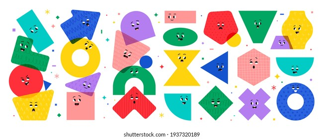 Geometric character shapes with face emotions, different cartoon basic figures. Cute colorful shapes, trendy colors, hand drawn textures, vector illustrations for children education.