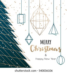 Geometric Christmas tree background, vector illustration.