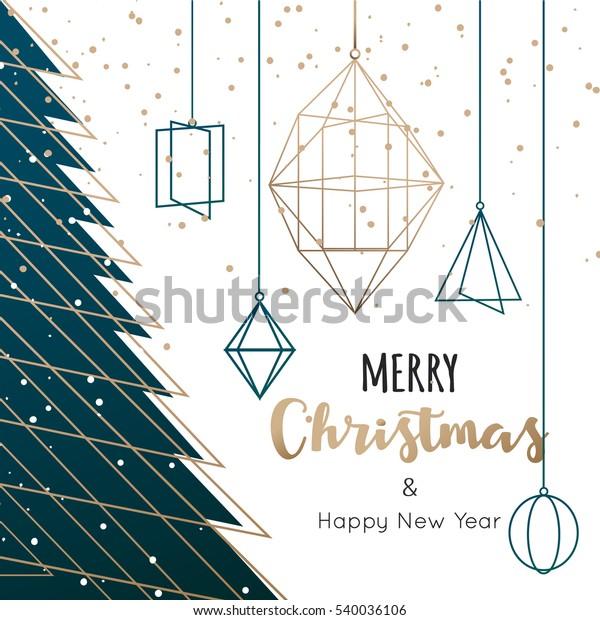 Geometric Christmas tree background, vector illustration.