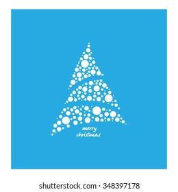 Geometric Christmas tree on a blue background. Vector illustration