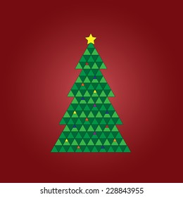 Geometric Christmas tree on a red background