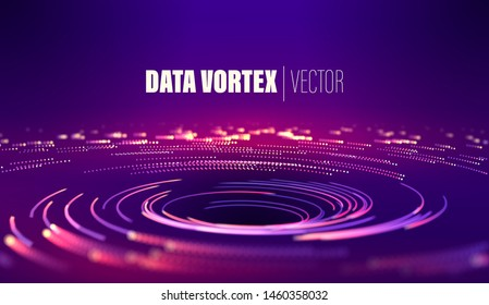 Geometric circle background. Bright color. Light trail. Particles swirl circle