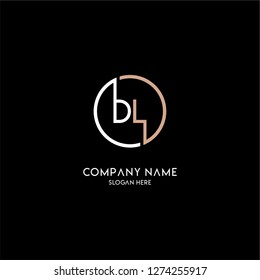 geometric circle bl logo letters design concept with brown and white colors
