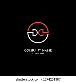 geometric circle dd logo letters design concept with white and red colors