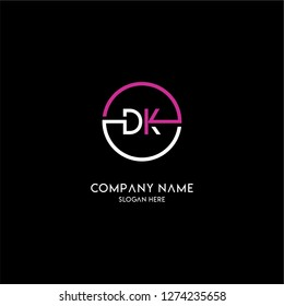 geometric circle dk logo letters design concept with purple and white colors