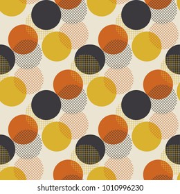 Geometric circle dot seamless pattern vector illustration in retro 60s style. Vintage 1970s ball shapes abstract motif in hot orange and yellow colors for carpet, wrapping paper, fabric, background.