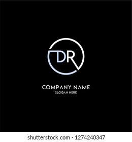geometric circle dr logo letters design concept with blue and white colors