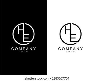 geometric circle he/eh company logo letters design concept in black and white colors