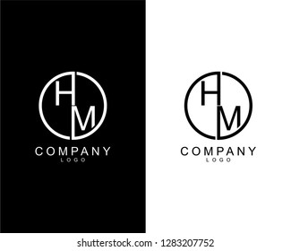 geometric circle hm/mh company logo letters design concept in black and white colors