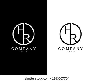 geometric circle hr/rh company logo letters design concept in black and white colors