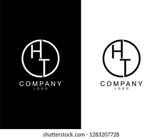 geometric circle ht/th company logo letters design concept in black and white colors