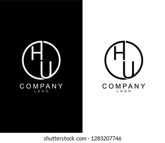 geometric circle hu/uh company logo letters design concept in black and white colors