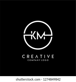 geometric circle km logo letters design concept in black and white