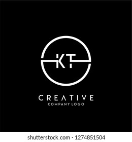 geometric circle kt logo letters design concept in black and white