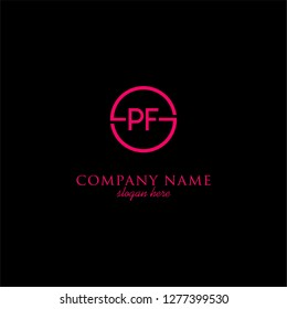 geometric circle PF logo letters design concept in neon red color