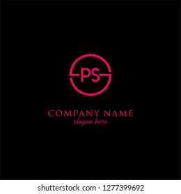 geometric circle PS logo letters design concept in neon red color