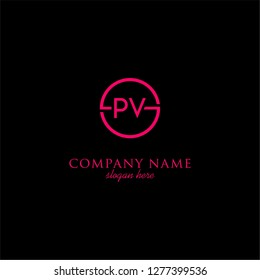 geometric circle PV logo letters design concept in neon red color