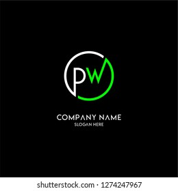 geometric circle pw logo letters design concept with green and white colors