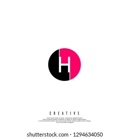 geometric circle red and black H logo letter design concept