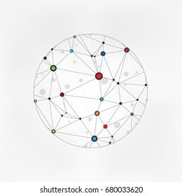 Geometric Circles Molecular. Wireframe connecting earth sphere. Globe connection concept. Globe structure connect. isolated on grey background. Vector illustration. Eps 10.