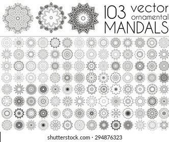 Geometric circular ornament set. Isolated vector mandalas. Perfect set for any kind of design, logo, wedding, birthday and other holiday, kaleidoscope, medallion, yoga, india, arabic