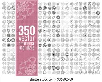 Geometric circular ornament set. Isolated vector mandalas. Perfect set for any kind of design, logo, wedding, birthday and other holiday, kaleidoscope, medallion, yoga, india, arabic