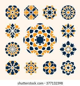 Geometric circular ornaments set. Vector arabic emblems