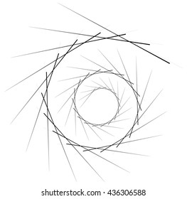 Geometric circular spiral. Abstract angular, edgy shape in rotating fashion. Editable vector.