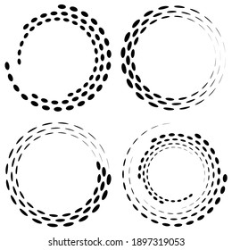 Geometric circular spiral, swirl and twirl. Cochlear, vortex, and volute shape. Vector illustration