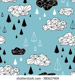 geometric clouds and rain seamless pattern