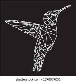 Geometric colibri bird vector illustration