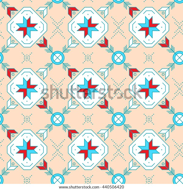 Geometric colored seamless pattern. Tribal indian ornaments..Vector illustration.
