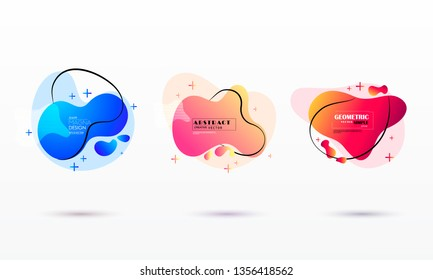 geometric colorful abstract shapes set. Trendy minimal modern design isolated white background.