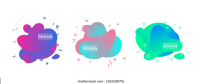 geometric colorful abstract shapes set badges background for banner web, app, poster. Trendy minimal modern design isolated white background. Abstract geometric shapes, lines patterns composition set.