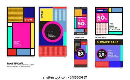 Geometric Colorful Flat Summer Sale 50% discount Background. The Template can use for, landing page, template, ui, web, homepage, poster, banner, flyer.
