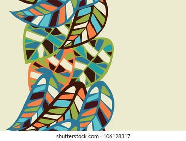 Geometric colorful leaves seamless pattern background. Vector file layered for easy manipulation and coloring.