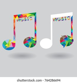 Geometric colorful Music notes logo sign icon. Musical symbol. Graphic design element. Flat music notes symbol on white background. Vector