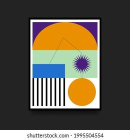 Geometric Colorful Poster in Swiss Style. Minimalistic Broadsheet. Scandinavian Graphic. Vector illustration