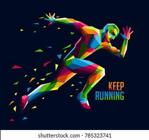 Geometric colorful running man