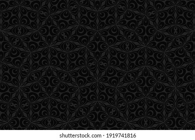 Geometric convex volumetric 3D texture. Curly black background with a relief original ornament of ethnic elements and figures for presentations, websites.