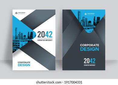 Geometric Corporate Book Cover Design Template in A4. Can be adapt to Brochure, Annual Report, Magazine,Poster, Business Presentation, Portfolio, Flyer, Banner, Website.