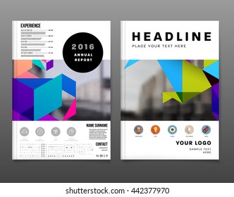 Geometric Cover Background, Brochure Template Layout for Annual Report or Magazine Design. A4 Booklet. Triangular or Polygonal Structures. Vector Illustration